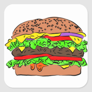 Cheeseburger Square Sticker