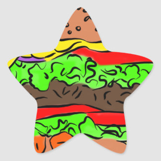 Cheeseburger Star Sticker
