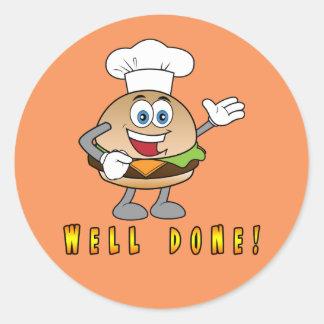 Cheeseburger Well Done! Round Sticker