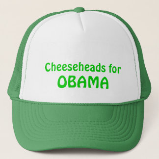 Cheeseheads for Obama Trucker Hat, Green Trucker Hat