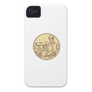 Cheesemaker Making Cheddar Cheese Circle Drawing Case-Mate iPhone 4 Cases