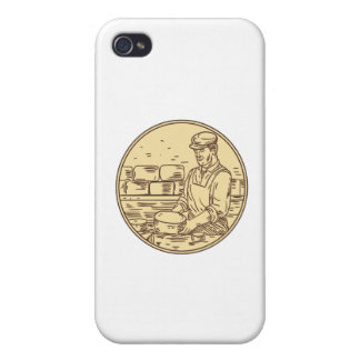Cheesemaker Making Cheddar Cheese Circle Drawing iPhone 4 Cover