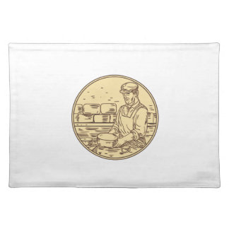 Cheesemaker Making Cheddar Cheese Circle Drawing Placemat