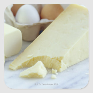 Cheeses and eggs. Eggs are rich in protein and Square Sticker