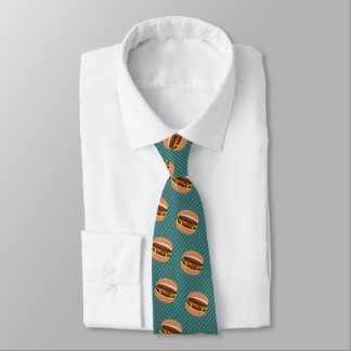 Cheesy Beefburgers - Fast Food Theme Funny Novelty Tie