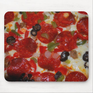 Cheesy Pepperoni Olive Pizza Funny Mouse Pad