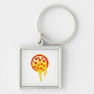 Cheesy pizza Silver-Colored square keychain