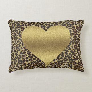 Cheeta Print Heart Pillow