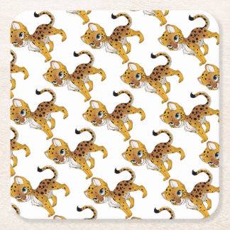 Cheeta Square Paper Coaster