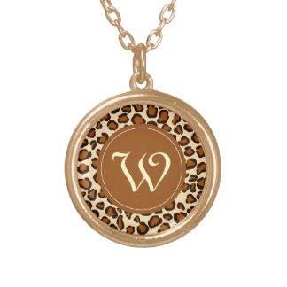 """Cheetah animal pattern with """"W"""" monogram Gold Plated Necklace"""
