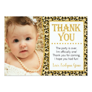 Cheetah Birthday Thank You Card with Photo