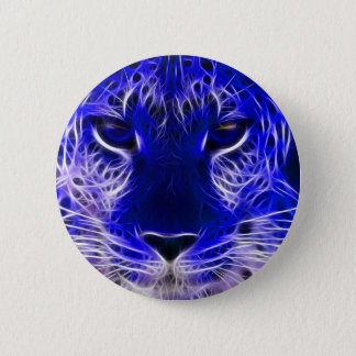cheetah blue fractal design 2 inch round button