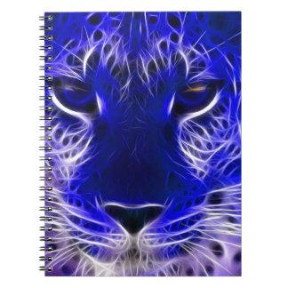 cheetah blue fractal design notebook