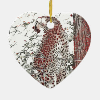 Cheetah by Tree, Japanese Art Effect Ceramic Ornament