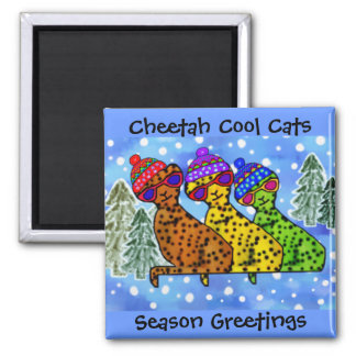 Cheetah Cool Cats Snow Day Magnets