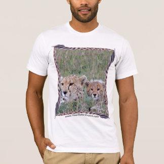 Cheetah & Cub in the grass with Cheetah Tail Frame T-Shirt