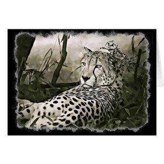 Cheetah  Digital Art Blank Greeting Card