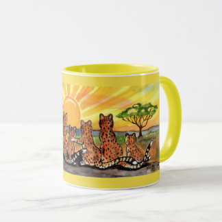 Cheetah Family Sunrise Bright Designer Mug