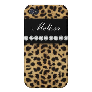 Cheetah Fur Diamonds Name ed  Cases For iPhone 4