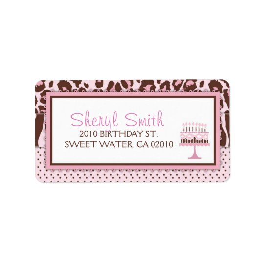 Cheetah Girl Cupcake Address Label