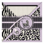 Cheetah Girl Square Card 2 Lilac Personalized Invitations