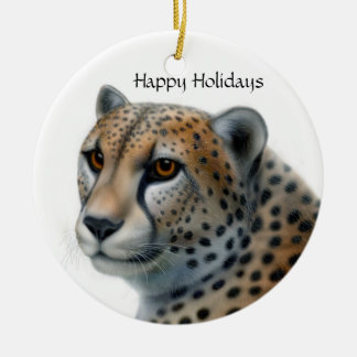 Cheetah, Happy Holidays Ceramic Ornament