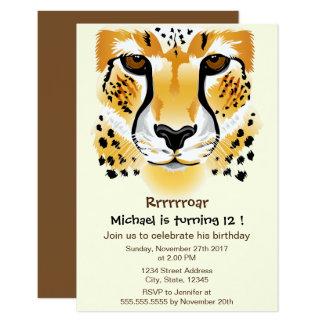 "cheetah head close-up illustration birthday party 3.5"" x 5"" invitation card"