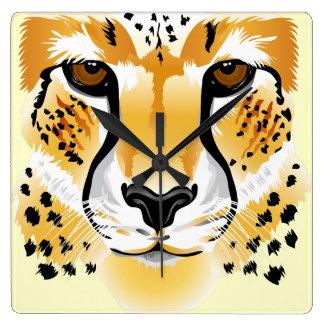 cheetah head close-up illustration clock