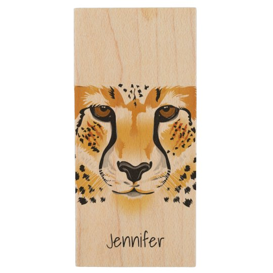 cheetah head close-up illustration wood USB 2.0 flash drive