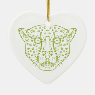 Cheetah Head Mono Line Ceramic Ornament