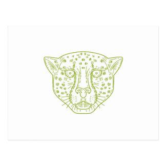Cheetah Head Mono Line Postcard