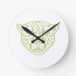 Cheetah Head Mono Line Round Clock