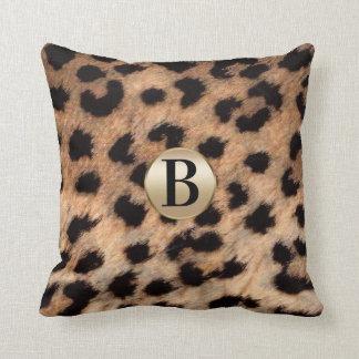 Cheetah Leopard Animal Print Monogram Gold Glitter Throw Pillow