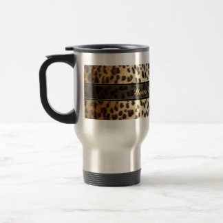 Cheetah Leopard Faux Animal Print Travel Mug