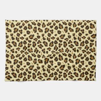 Cheetah Leopard Print Black Brown Spots Pattern Kitchen Towel