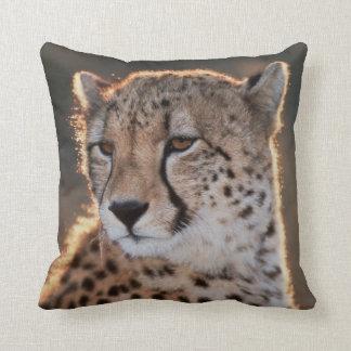 Cheetah looking away throw pillow
