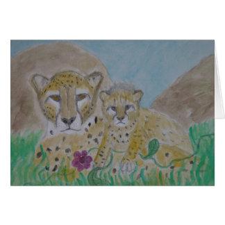 cheetah mother and cub card