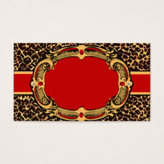 Cheetah Pattern Red Label Business Card