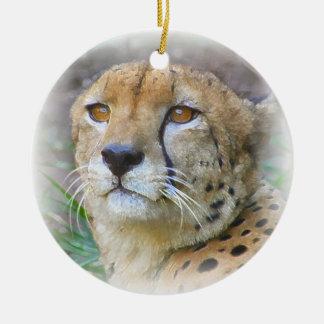 Cheetah portrait ceramic ornament