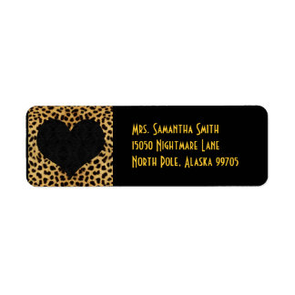 Cheetah Print Black Heart - Custom Address