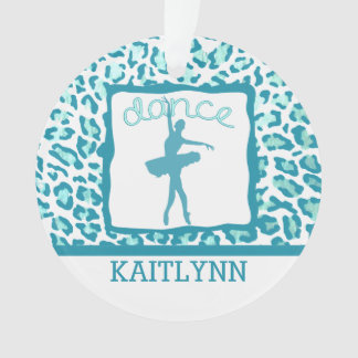 Cheetah Print Dance in Turquoise Ornament