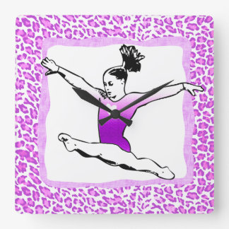 Cheetah Print Gymnastics in Purple Clock