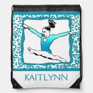 Cheetah Print Gymnastics in Turquoise w/ Monogram Drawstring Bag