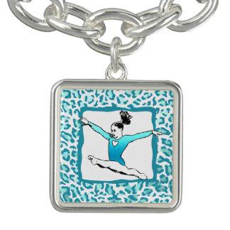 Cheetah Print Gymnastics Turquoise Charm Bracelet