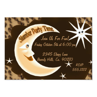 "Cheetah Print Sleepy Moon Slumber Party 5"" X 7"" Invitation Card"