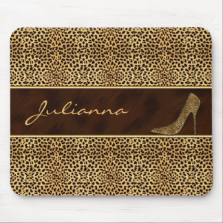 Cheetah Print with a Stiletto Heel Mouse Pad