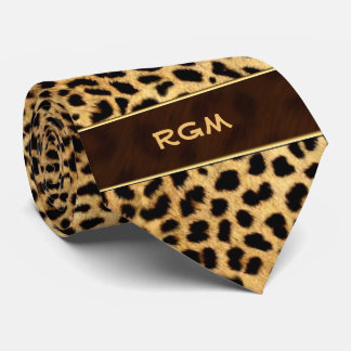 Cheetah Print with Monogram Tie