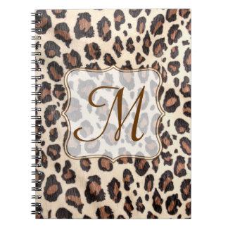 Cheetah Spot Animal Monogram Initial Note Book