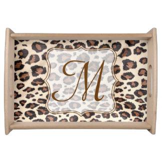 Cheetah Spot Animal Print Monogram Serving Tray