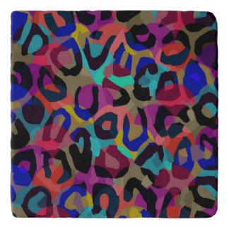 Cheetah Turquoise Purple Abstract Trivet